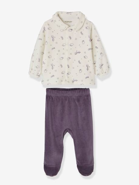 Pack of 2 Two-Piece Pyjamas for Babies in Velour PURPLE DARK 2 COLOR/MULTICOLOR