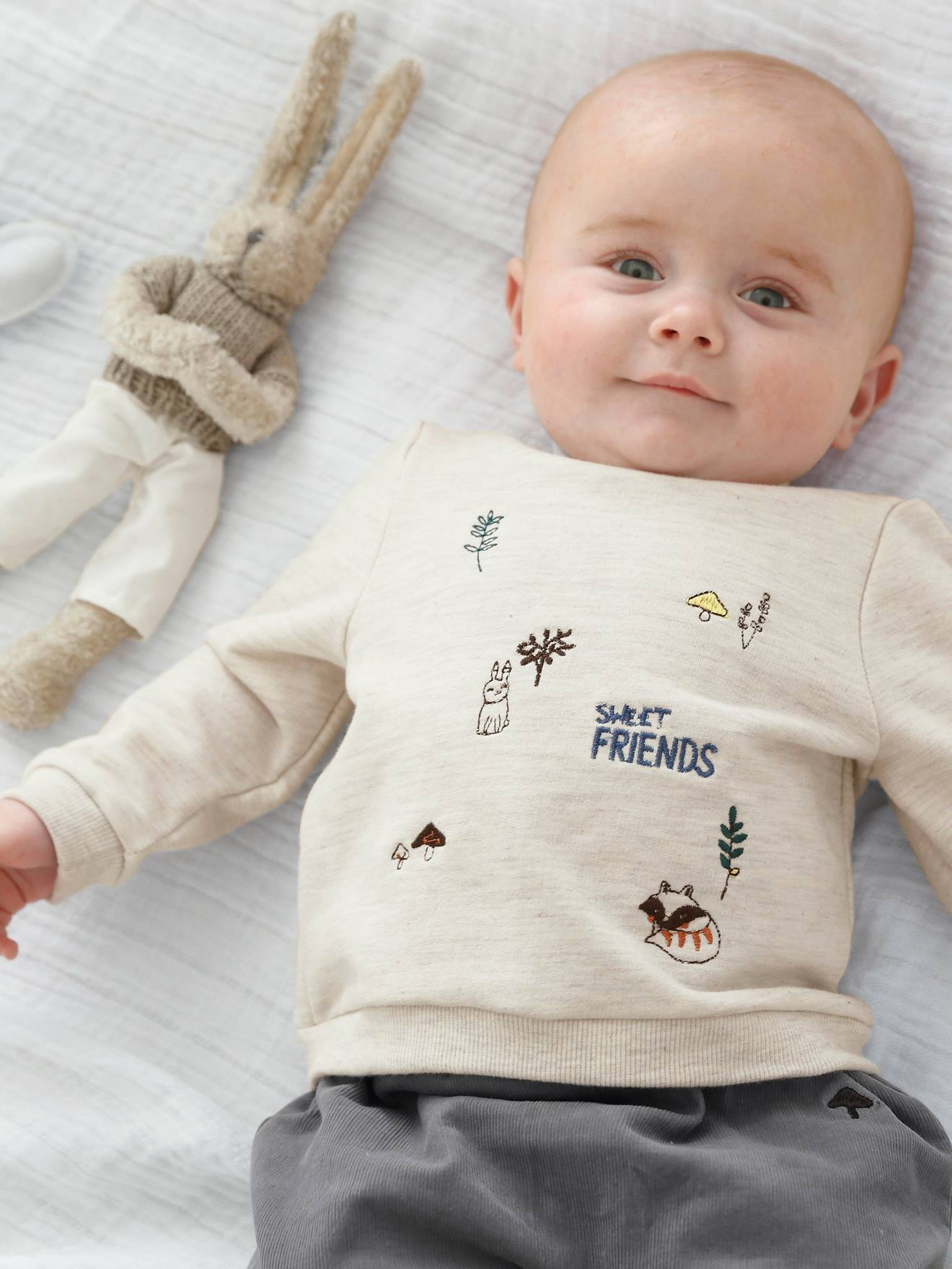80cb01039 Outfit for Newborn Babies  Sweatshirt with Fox Embroidery