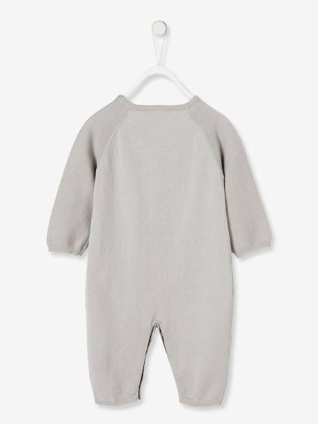 Knitted Jumpsuit for Newborn Babies in Organic Cotton GREY LIGHT SOLID+WHITE LIGHT SOLID