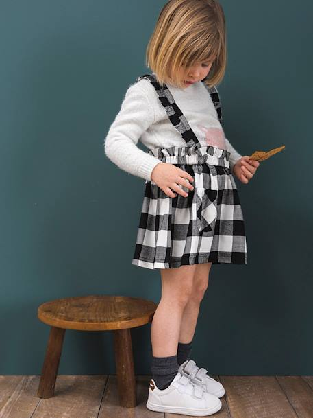 Chequered Twill Skirt with Ruffles and Straps for Girls BLACK DARK CHECKS
