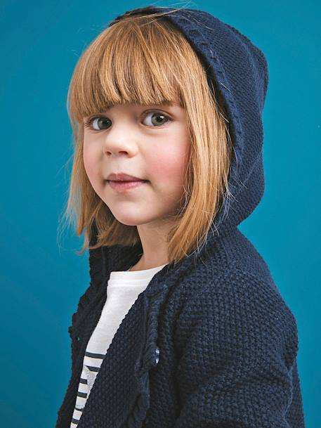 Knitted Cardigan, with Hood, for Girls BLUE DARK SOLID WITH DESIGN+PINK DARK SOLID WITH DESIGN