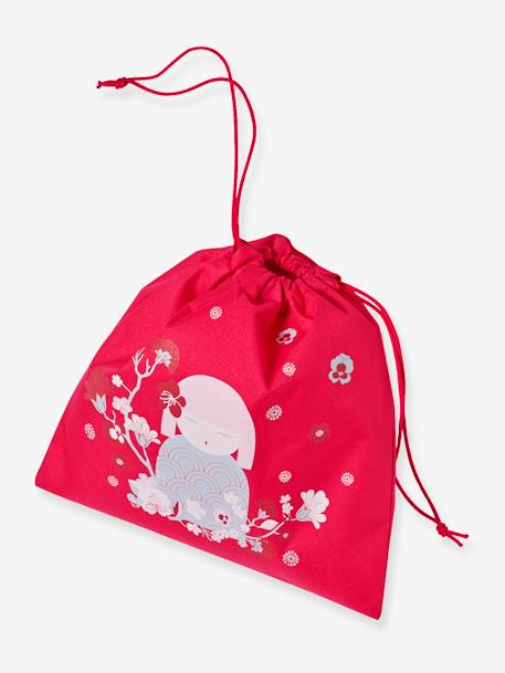Lunch Bag with Japanese Doll, for Girls RED LIGHT SOLID WITH DESIGN