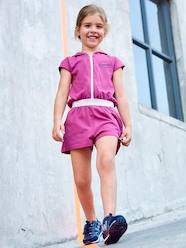 Girls-Hooded Jumpsuit in Piqué Knit for Girls