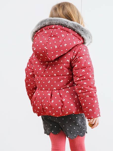 Printed Padded Jacket with Fleece Lining, for Girls PINK DARK ALL OVER PRINTED