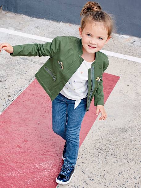 Slim Jeans with Macramé Flower for Girls BLUE DARK SOLID+PINK LIGHT SOLID+RED DARK SOLID