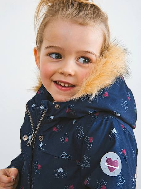 3-in-1 Parka with Fleece Lining, for Girls BLUE DARK SOLID WITH DESIGN+PINK LIGHT SOLID WITH DESIGN