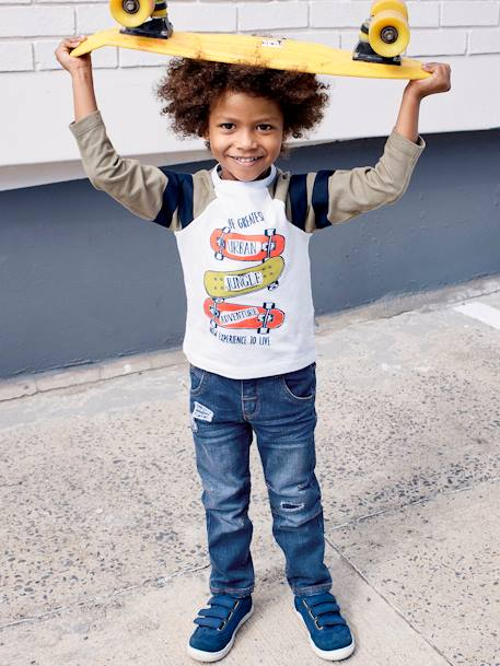 Two-Tone, Printed Top for Boys WHITE LIGHT SOLID WITH DESIGN