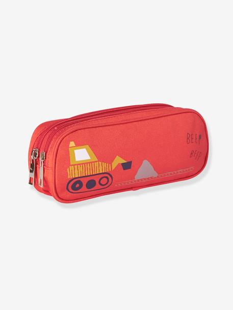 Pencil Case with Backhoe and Double Compartment, for Boys RED BRIGHT SOLID WITH DESIG