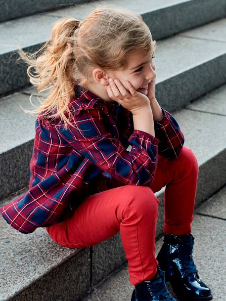 Chequered Blouse for Girls RED DARK CHECKS