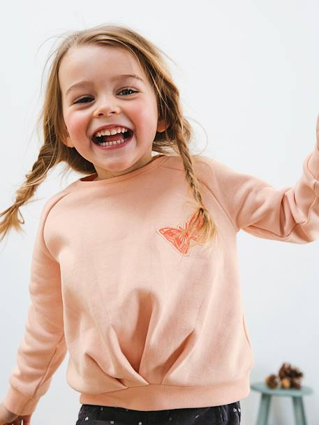 Fleece Sweatshirt for Girls PINK LIGHT SOLID WITH DESIGN