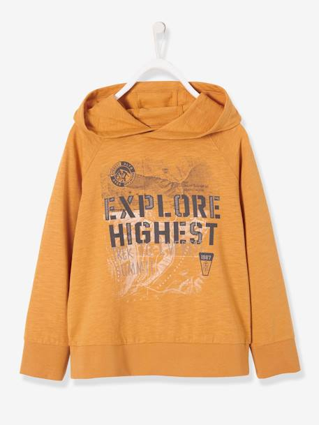 Hooded Top for Boys BLACK DARK SOLID WITH DESIGN+ORANGE MEDIUM SOLID WITH DESIG