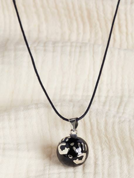 Fancy Bola Babylonia Pregnancy Necklace BLACK MEDIUM SOLID WITH DESIGN+GREY MEDIUM METALLIZED+WHITE LIGHT SOLID WITH DESIGN