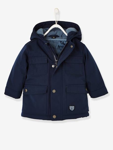 3-in-1 Progressive Parka for Baby Boys BLUE DARK SOLID+GREEN DARK SOLID