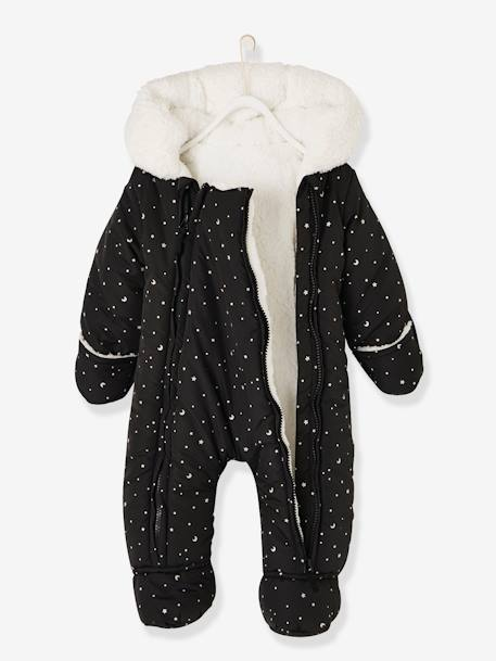 Jumpsuit with Starry Iridescent Print for Babies BLACK DARK ALL OVER PRINTED+WHITE LIGHT ALL OVER PRINTED