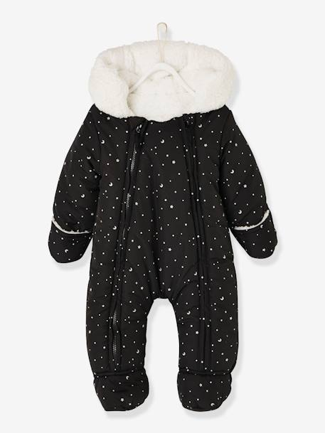 Jumpsuit with Printed Iridescent Stars, for Babies BLACK DARK ALL OVER PRINTED+WHITE LIGHT ALL OVER PRINTED