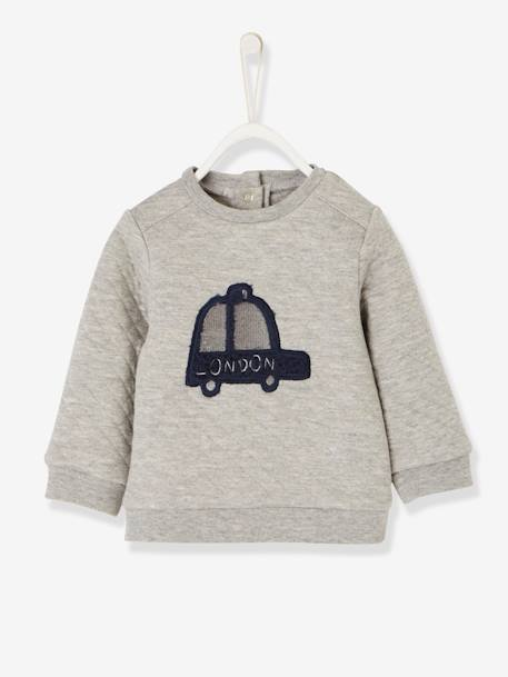 Fleece Sweatshirt with Topstitching for Baby Boys BLACK DARK SOLID WITH DESIGN+GREY LIGHT MIXED COLOR