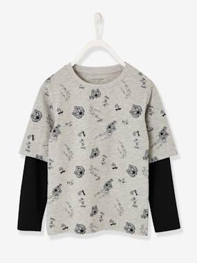 2-in-1 Top for Boys grey light mixed color