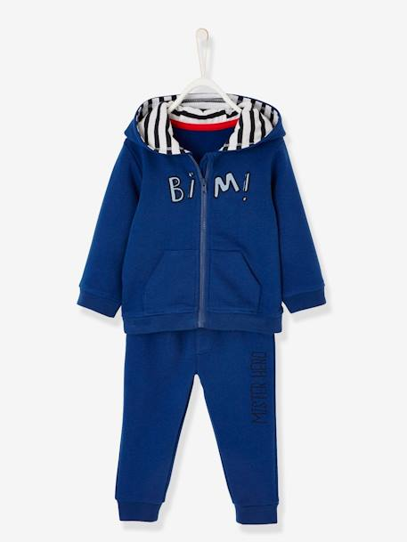 Sports Zipped Jacket & Trouser Set BLUE BRIGHT SOLID WITH DESIGN
