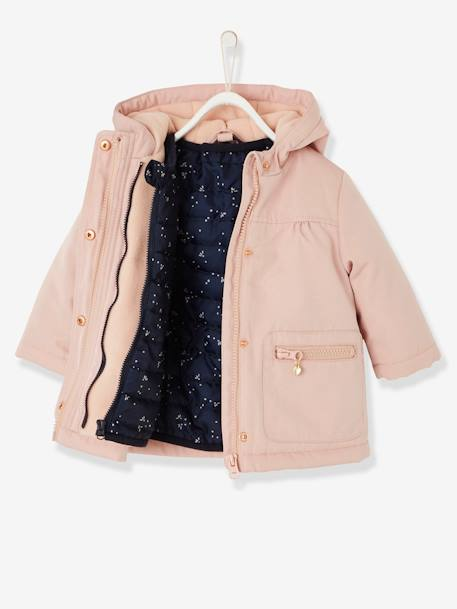 3-in-1 Parka with Removable Jacket, for Baby Girls BEIGE LIGHT SOLID+GREEN DARK SOLID
