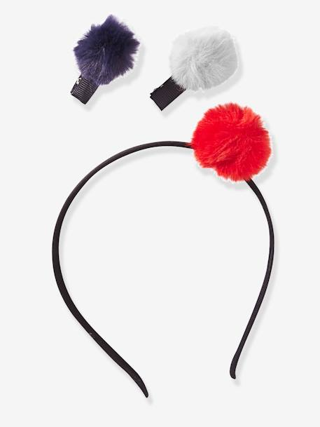 Alice Band & Hair Clips with Pompoms, for Girls BLACK DARK 2 COLOR/MULTICOL