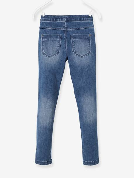 Denim Biker Treggings for Girls BLUE DARK WASCHED