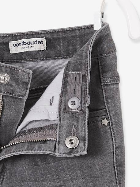 MEDIUM Fit, Girls' Slim Fit Jeans BLUE DARK WASCHED+GREY MEDIUM WASCHED