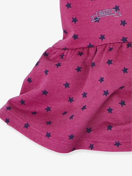 Printed Fleece Dress for Baby Girls PINK DARK ALL OVER PRINTED+WHITE LIGHT CHECKS
