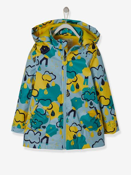 Hooded Raincoat with Fleece Lining for Girls RED DARK SOLID WITH DESIGN+YELLOW MEDIUM 2 COLOR/MULTICOL