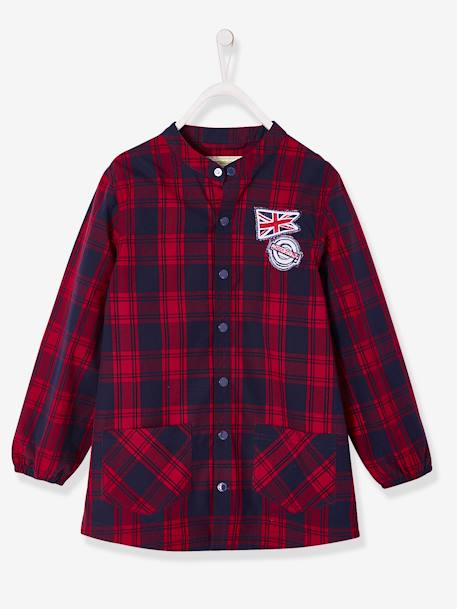 Chequered Smock for Boys RED DARK CHECKS