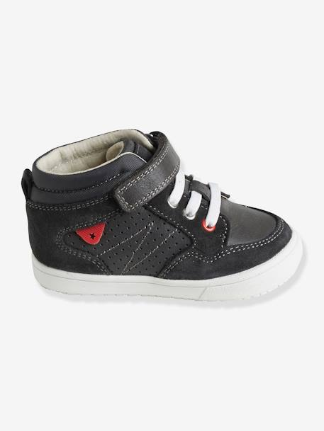 Boys' High-Top Trainers, in Leather GREY DARK SOLID+RED MEDIUM SOLID WITH DESIG+WHITE LIGHT SOLID