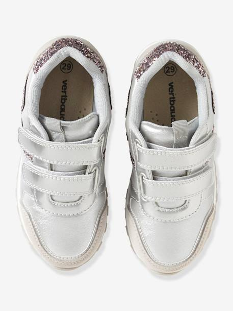 Girls' Glittery Trainers with Touch 'n' Close Tabs BLUE DARK SOLID+GREY MEDIUM SOLID+PINK LIGHT SOLID