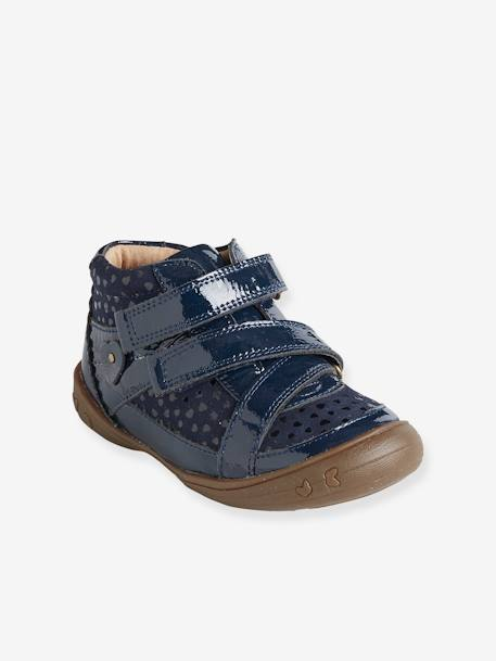 Girls' Leather Boots, Designed for Autonomy BLUE DARK ALL OVER PRINTED