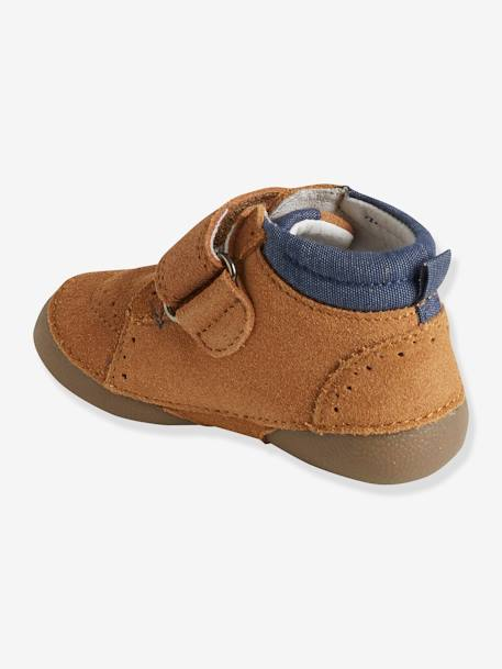 Soft Leather Shoes with Touch 'n' Close Fastening for Babies BEIGE MEDIUM SOLID