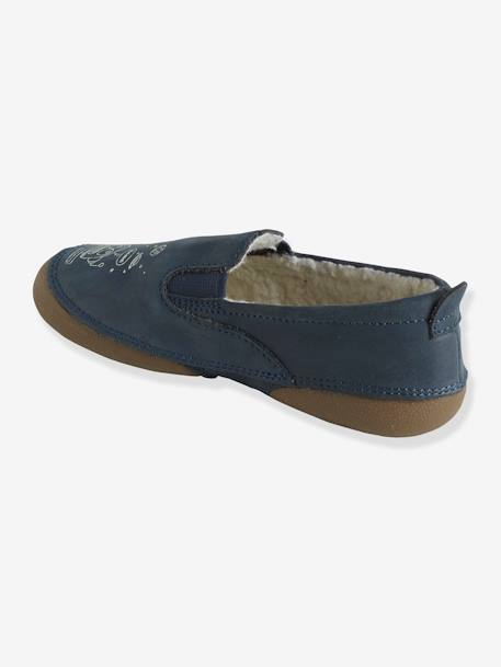 Printed Leather Glow-in-the-Dark Shoes for Boys BLUE DARK SOLID