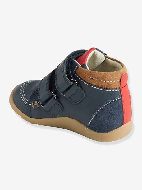 Leather Boots with Touch 'n' Close Fastening for Boys, First Steps BLUE MEDIUM SOLID+GREY DARK SOLID
