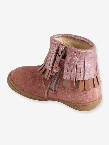 Girls' Leather Boots with Fringes BROWN MEDIUM SOLID+PINK MEDIUM SOLID