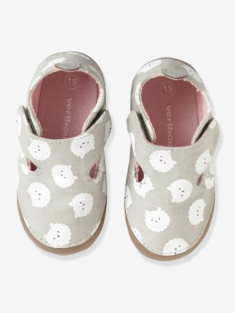Shoes in Printed Fabric for Babies GREY LIGHT GREYED
