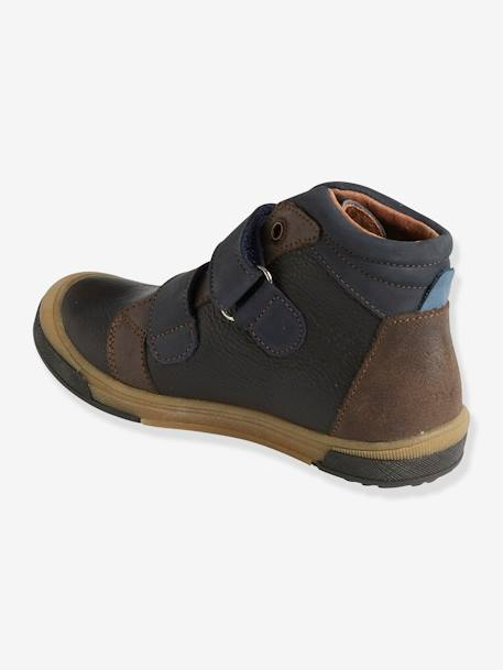 Leather Boots with Touch 'n' Close Fastening for Boys BROWN DARK SOLID WITH DESIGN