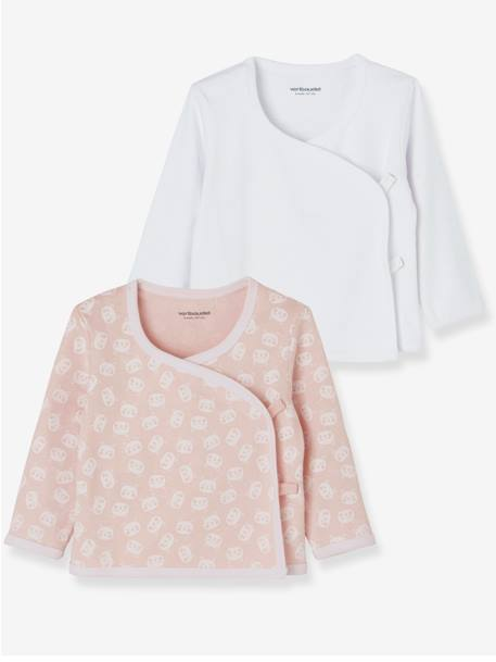 Pack of 2 Wrapover tops for Newborns in Organic Cotton Jersey Knit PINK LIGHT 2 COLOR/MULTICOL R+WHITE LIGHT TWO COLOR/MULTICOL