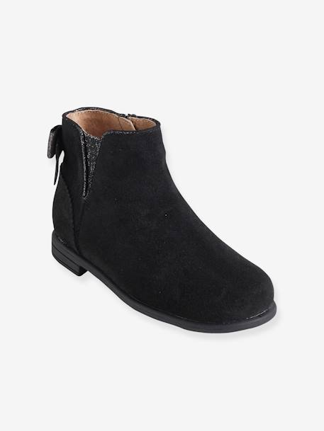 Girls' Leather Boots BLACK DARK SOLID+BROWN LIGHT SOLID