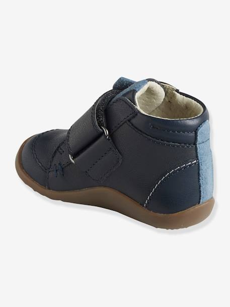 Leather Boots with Touch 'n' Close Fastening for Boys, First Steps BLUE DARK SOLID WITH DESIGN