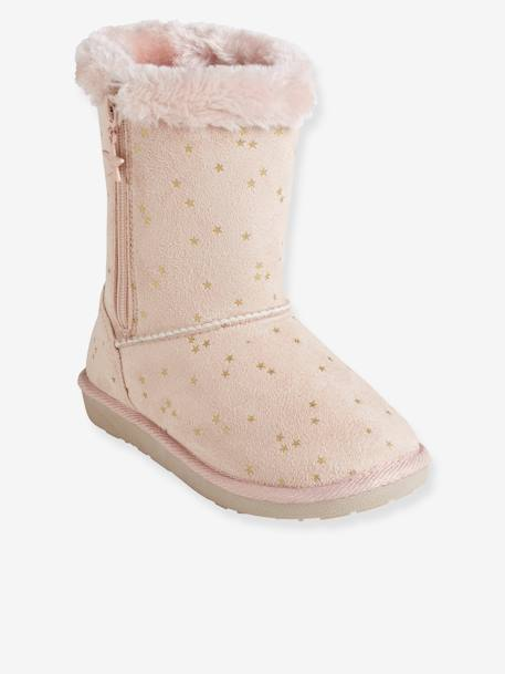 Girls' Boots with Fur BEIGE LIGHT METALISED+BLACK DARK SOLID+BROWN MEDIUM ALL OVER PRINTED+PINK LIGHT ALL OVER PRINTED