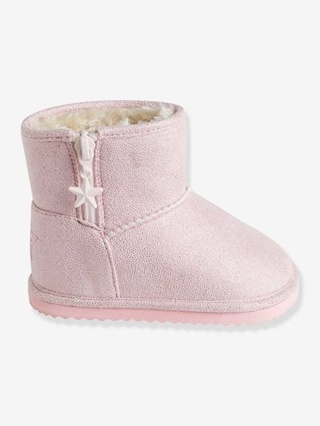 Girls' Boots with Fur BEIGE DARK SOLID+PINK LIGHT SOLID