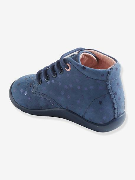 Girls' Leather Ankle Boots, Designed for First Steps BLUE DARK SOLID WITH DESIGN+Grey / pink+PINK LIGHT ALL OVER PRINTED