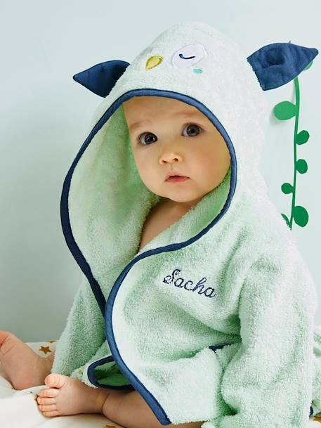 Baby Bathrobe, Owl GREEN LIGHT SOLID WITH DESIGN