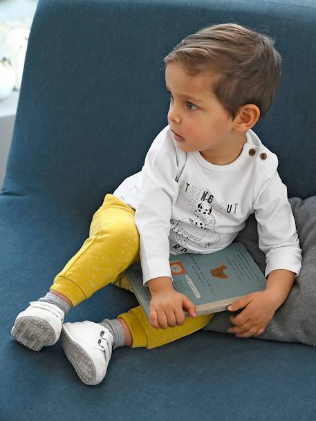 Fleece Trousers with Striped Effect for Baby Boys GREY DARK MIXED COLOR+YELLOW DARK MIXED COLOR