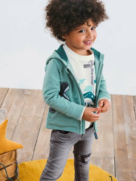 Hooded Cardigan with Zip for Boys GREEN MEDIUM SOLID WITH DESIG