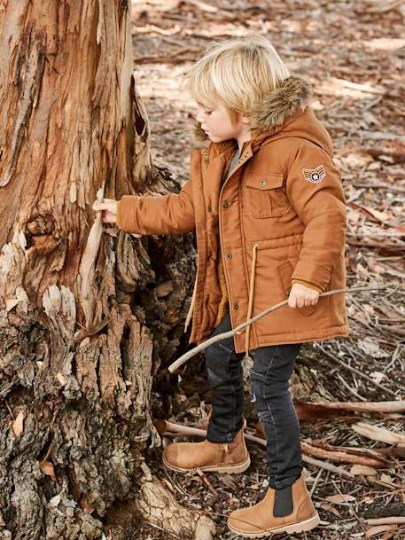 Plush-Lined Parka for Boys BLUE DARK SOLID WITH DESIGN+BROWN LIGHT SOLID WITH DESIGN+GREEN DARK SOLID WITH DESIGN