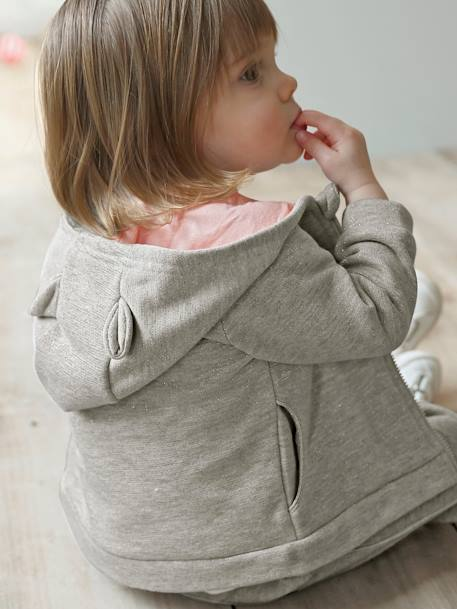 Iridescent Sports Jacket with Zip, for Baby Girls GREY MEDIUM MIXED COLOR