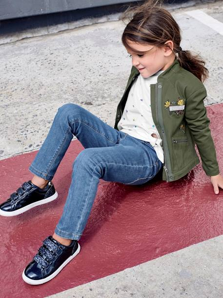Army Jacket for Girls GREEN DARK SOLID WITH DESIGN